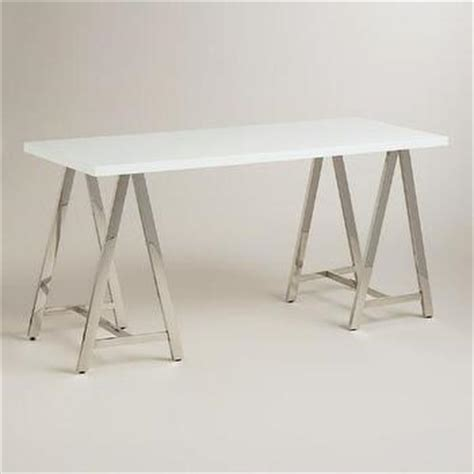 Clear And Silver Glass Cross Base Desk White Sawhorse Desk