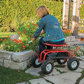 Gardening Rolling Seat Steerable Rolling Seat With Tool Tray Valley Tools