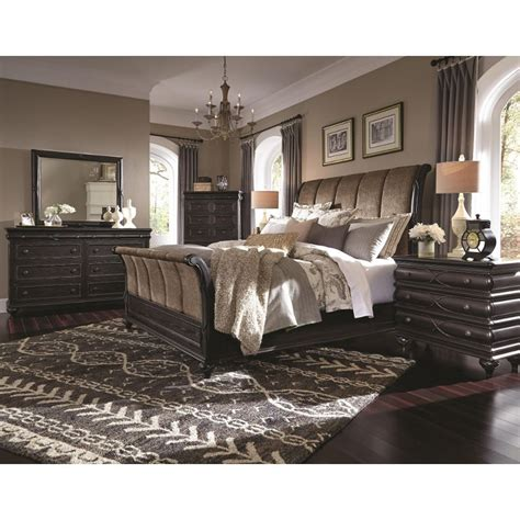 bedroom sets king hyland park vintage black 6 piece cal king bedroom set
