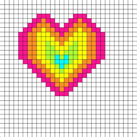 heart pattern rainbow pin perler bead pattern disney characters pictures on