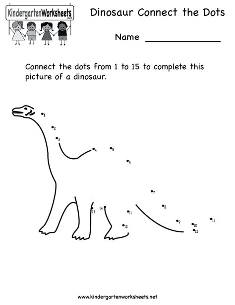 kindergarten dinosaur connect the dots printable