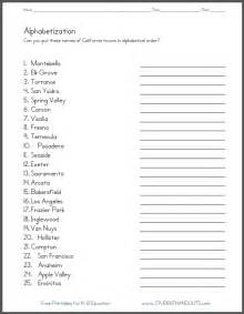 california towns in abc order worksheet student handouts