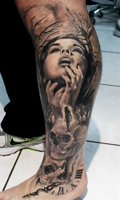 sick skull tattoo designs 55 awesome s tattoos leg tattoos calf and