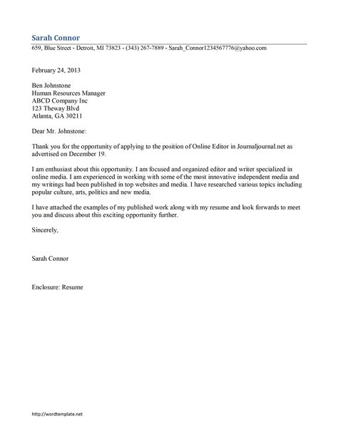 journalist cover letter template free microsoft word