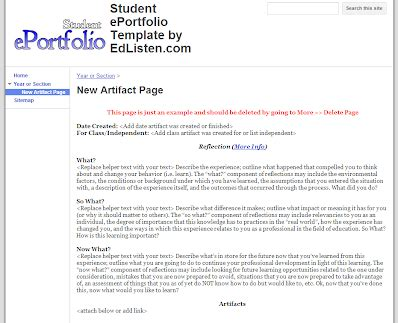 Student Eportfolio Template Edlisten Resources Digital Portfolio Template