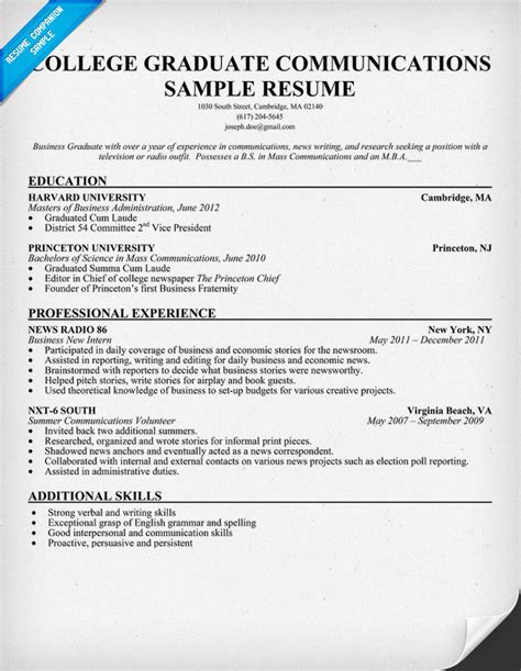 Grad Resume Resume Writing College Graduates