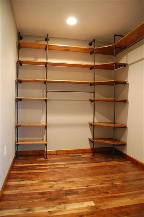 diy closet organizer from pipes and pine shelves want