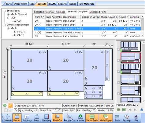 Free Kitchen Cabinet Software by Cutlist Plus Cutting Diagram Software Sheet Layout