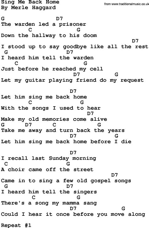 country sing me back home lyrics and chords