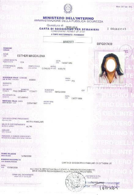documento per carta di soggiorno permesso di soggiorno ce per soggiornanti di lungo periodo