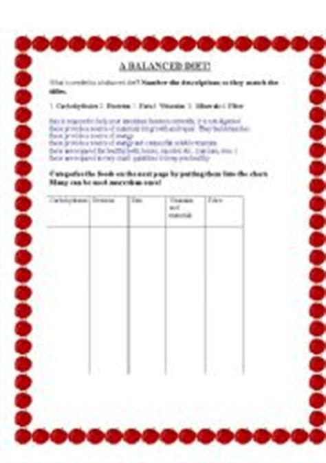 carbohydrates vocabulary teaching worksheets food