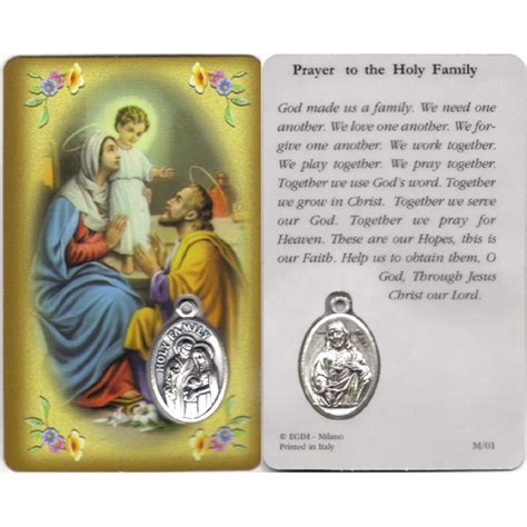 holy family cards holy family prayer card with medal cm 8 5 x 5 3 1 4 quot x 2