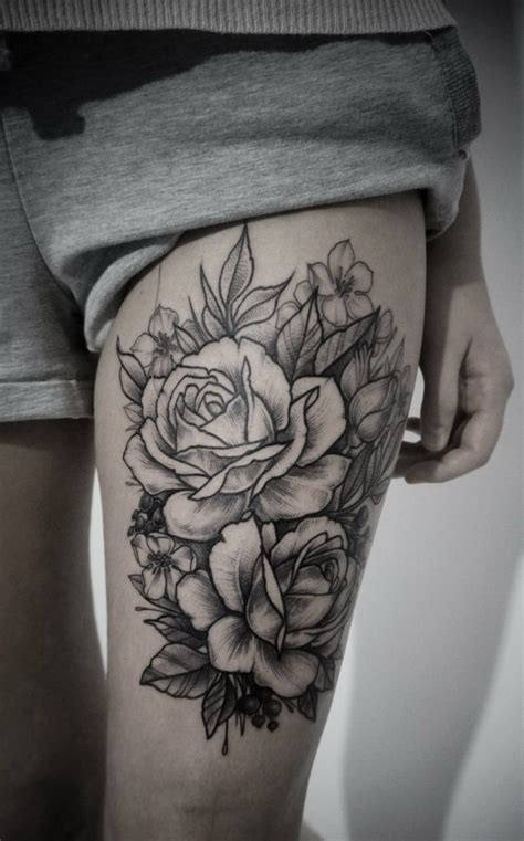 roses thigh tattoos black ink flowers on thigh tattooimages biz