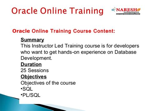 oracle tutorial for experienced oracle online training in india best online training