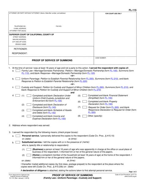 florida service laws fl 115 proof of service of summons family