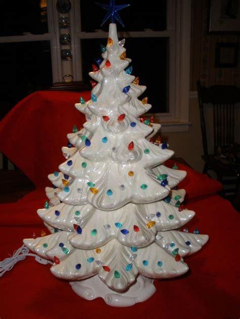 vintage white pearlescent ceramic christmas tree    grandparents    green