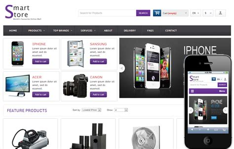 ecommerce mobile template smart store shopping cart mobile website template