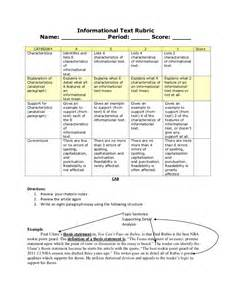 Text Response Essay Rubric by Information Text Rubric For Cab 9th Grade