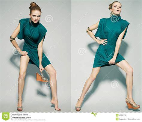 Dress Model Blue Fashion Impor collage of emotional portraits of a gorgeous fashion model stock photo image 41061752