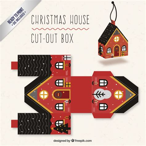 Christmas House Box In Red And Black Colors Vector Free Download