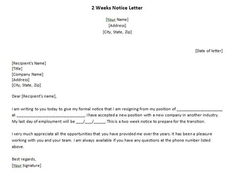 40 Two Weeks Notice Letters Resignation Letter Sles Free Template Downloads 2 Week Notice Template Free