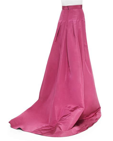 carolina herrera silk faille pleated back skirt in