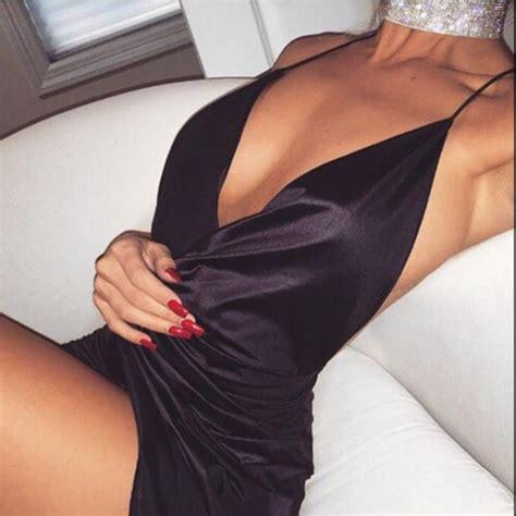 Klw Mini Dress V Neck V Neck Sleep Wear Dress Hitam Mix L shoes dress black dress satin dress dress plunge