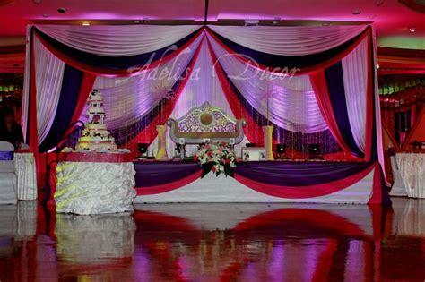 wedding drapery backdrop beautiful purple fuschia wedding reception backdrop