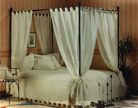 Four Poster Bed Curtains Drapes Set Of Voile Cotton Four Poster Bed Curtains