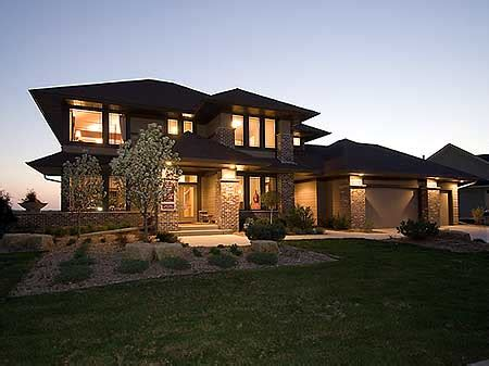 prairie style house design plan w14469rk premium collection contemporary photo