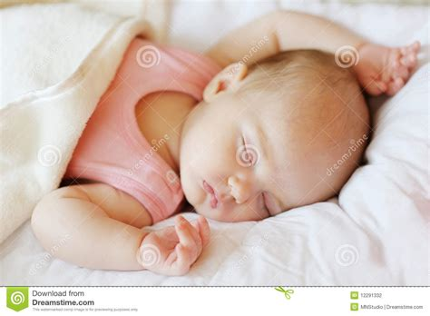 Sweet Little Newborn Baby In A Bed Stock Photo Image Bed For Newborn