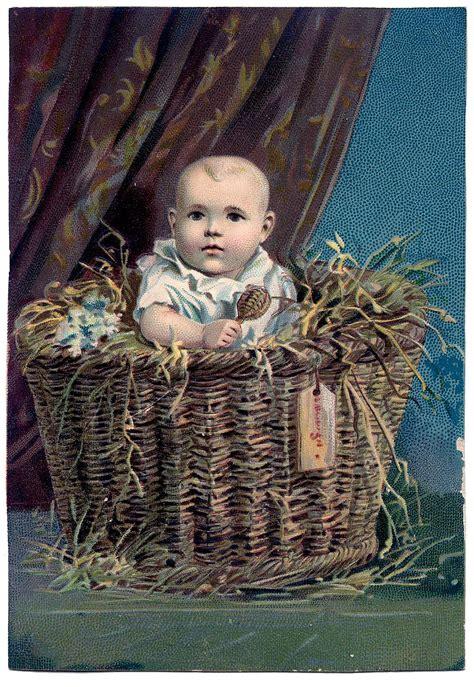 vintage clip art sweetest baby  basket  graphics