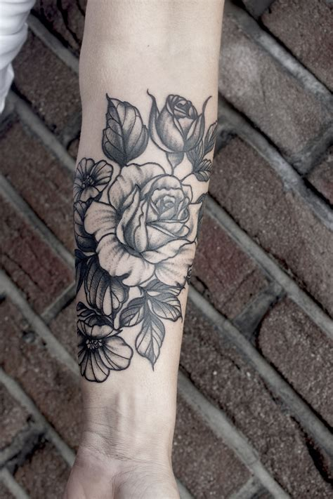 rose bunch tattoo flower bouquet blackwork dotwork peony peonies