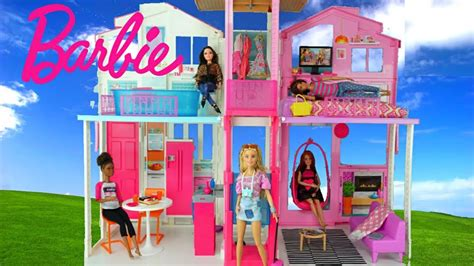 barbie doll beach house barbie doll house with pink bedroom doll bathroom and toy kitchen kids toys youtube