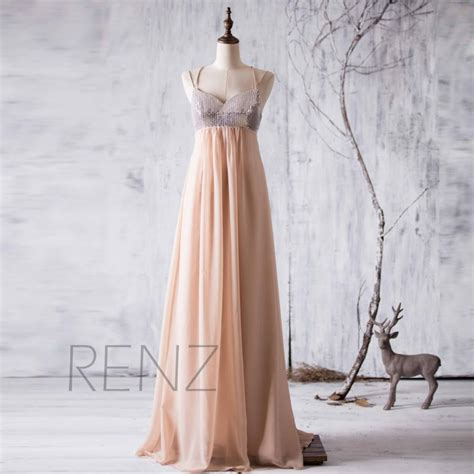 Dress Sequence Panjang spaghetti sequin net benang partai memakai panjang partai bridal bliss