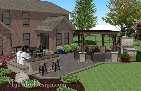 Rear Patio Designs Courtyard Paver Patio Design With Pergola Fireplace Plan Mypatiodesign
