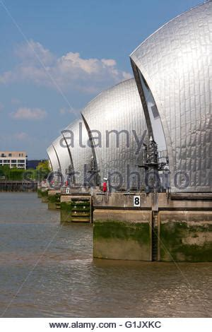 thames barrier woolwich the thames barrier at woolwich london england stock