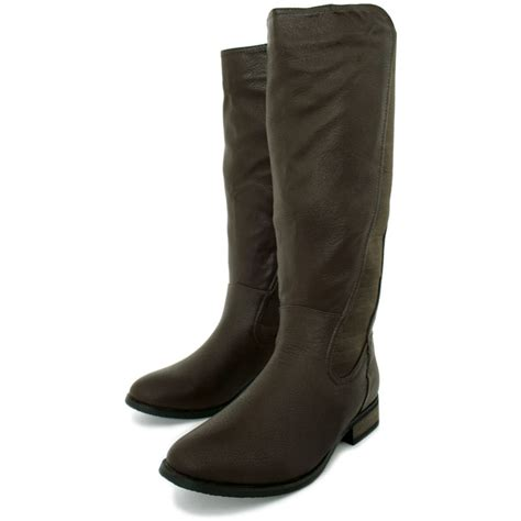 brown leather wide calf boots womens brown leather style stretch wide calf flat knee high biker boots