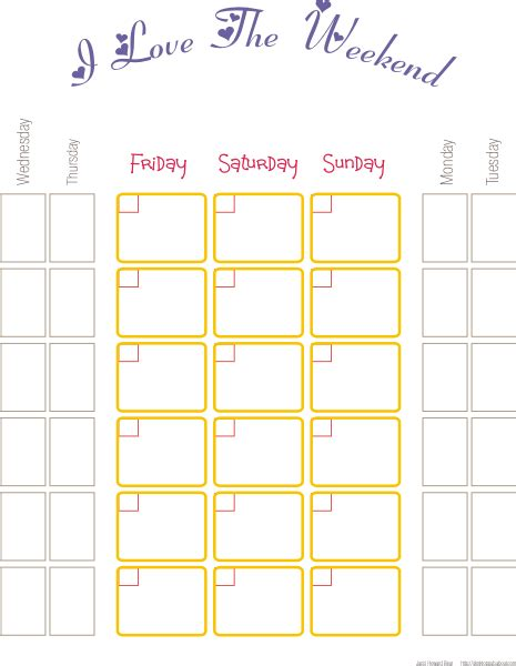 Weekend Calendar Template i the weekend calendar free printable calendars by jacci