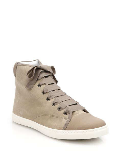 popular high top sneakers lyst lanvin suede high top sneakers in