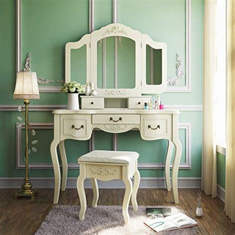 vanity set girls makeup dressing table stool mirror teen 23 off tribesigns french vintage ivory white vanity
