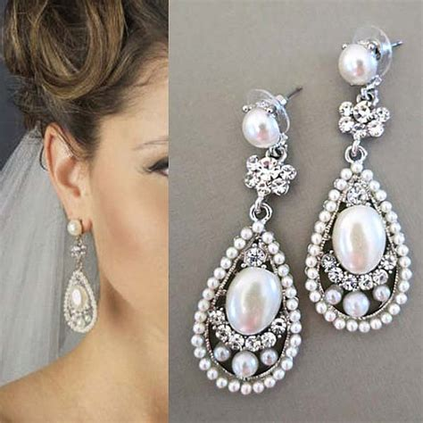 braut ohrringe bridal drop earrings bridal earrings with pearl wedding
