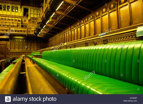 the green benches green benches leather the palace of westminster house of commons stock photo royalty