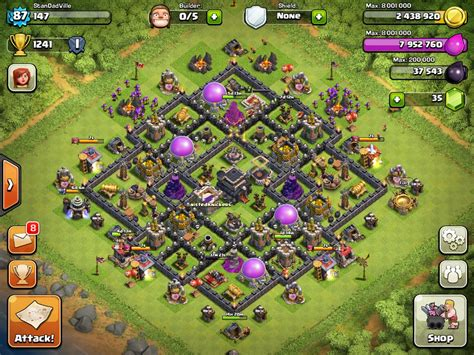 layout coc th9 clash of clans th9 base layout