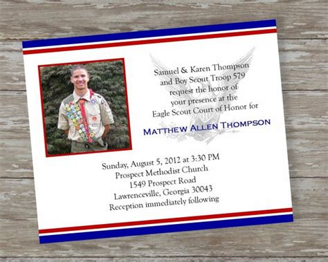 Eagle Scout Invitations Print Eagle Scout Announcement Templates