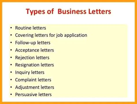 Types Of Business Letter And Their Format different kinds of letter effective letter of application