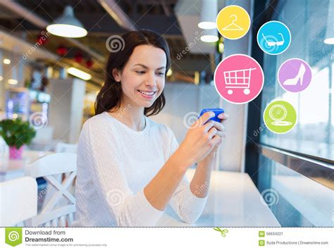 Smart Phone Smart Shopping by Smiling With Smartphone Shopping Stock