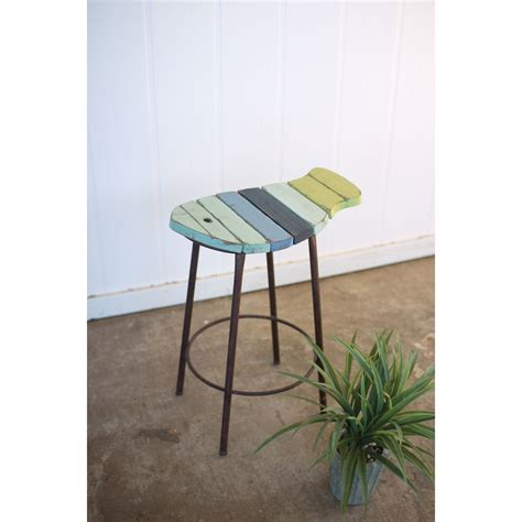 Painted Counter Stools by Kalalou Painted Wood And Metal Fish Counter Stool On Sale