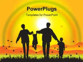 Family Powerpoint Templates Free by Happy Family Walks On Nature Sunset Illustration