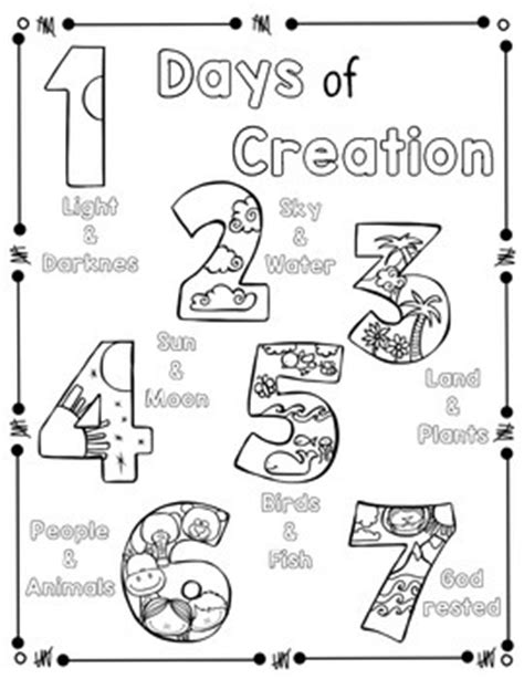 days of creation coloring pages days of creation coloring page and handwriting practice by